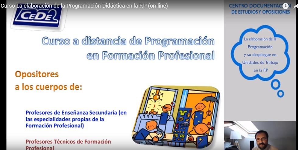 La elaboración de la Programación y su despliegue en Unidades de Trabajo en la F.P (del 6 de Noviembre al 22 de Diciembre)