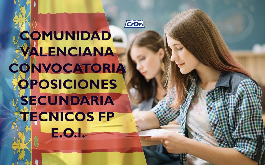 Comunidad Valenciana: Convocadas oposiciones profesores