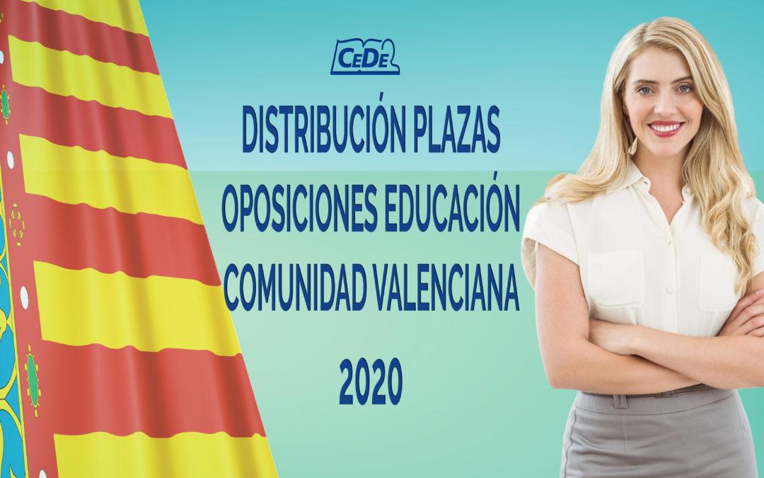 Comunidad Valenciana distribución de plazas oposiciones 2020