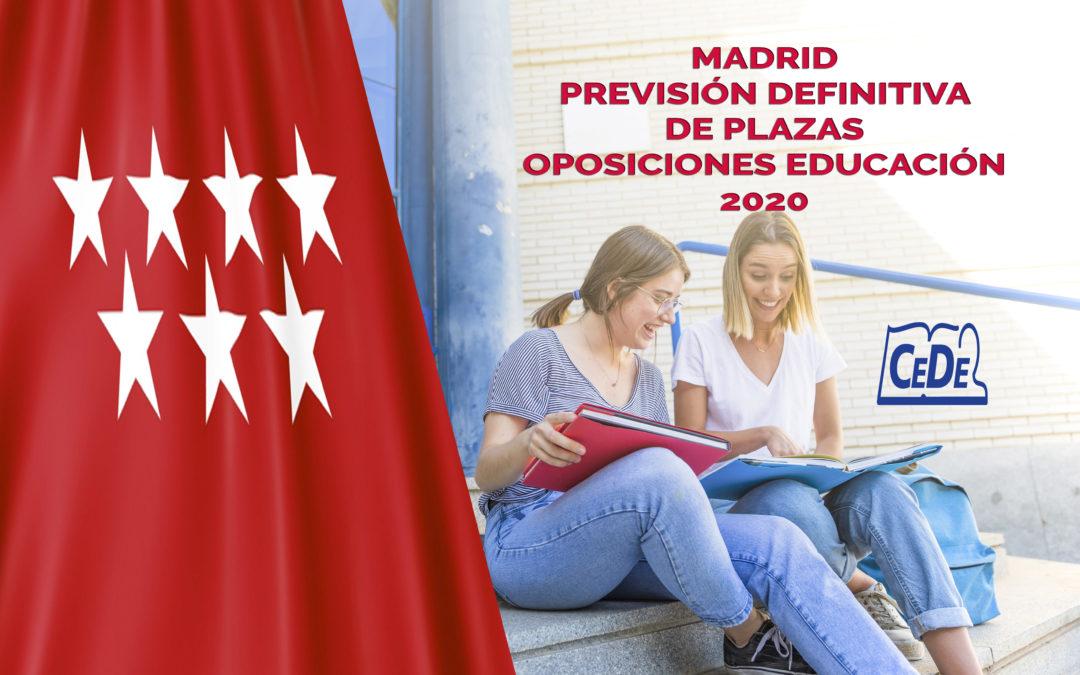 Madrid previsión definitiva de plazas oposiciones profesores 2020