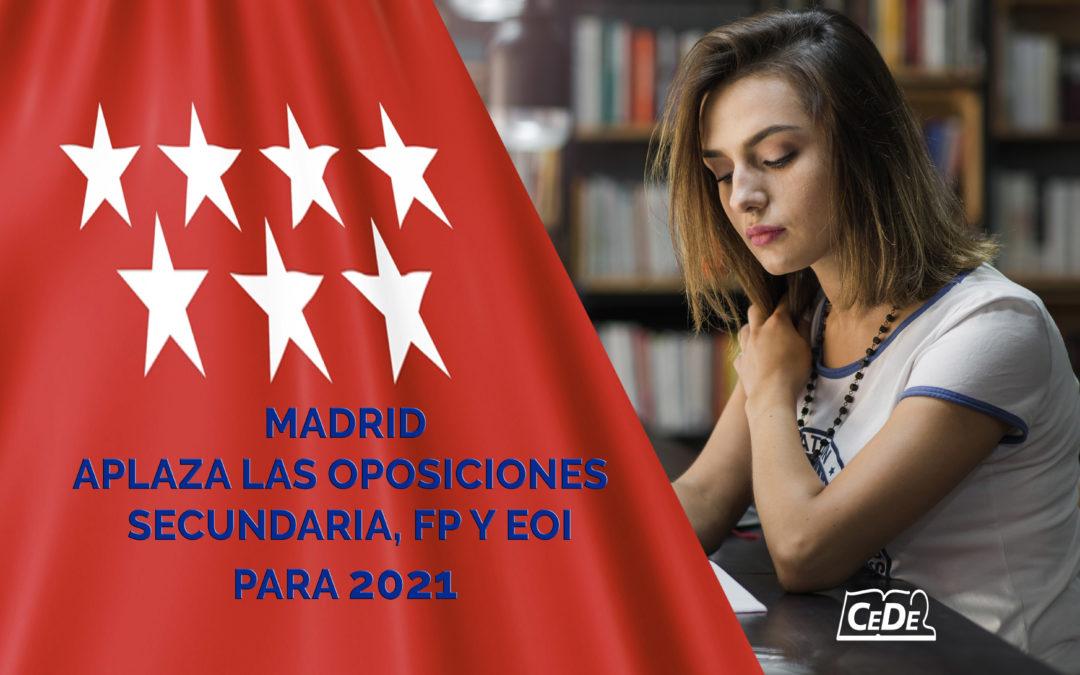 Madrid aplaza a 2021 las oposiciones a profesor