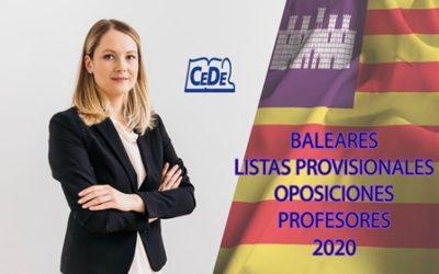 Baleares: Listas provisionales de admitidos y excluidos