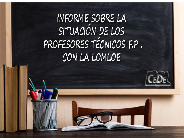 Informe sobre la situación de los profesores técnicos FP