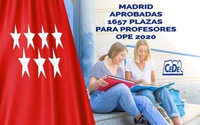 Madrid aprobadas 1.657 plazas para profesores OPE 2020