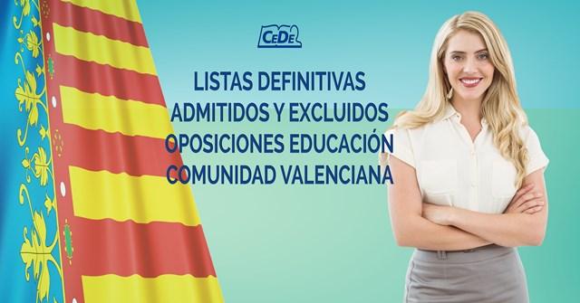 Comunidad Valenciana listas definitivas de admitidos