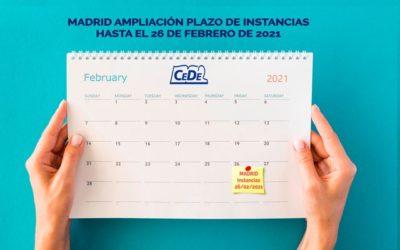 Madrid ampliación presentación de instancias