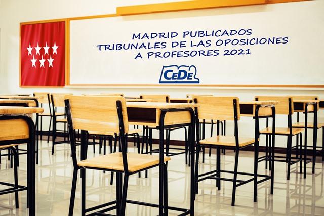 Madrid publicados tribunales de las oposiciones a profesores 2021