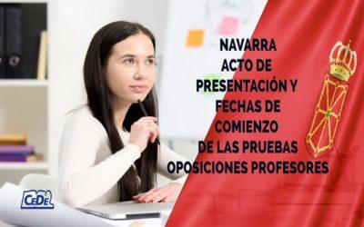 Navarra fecha acto de Presentación, Programación Didáctica, Primera Prueba