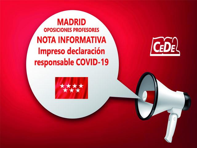 Madrid nota informativa oposiciones profesores