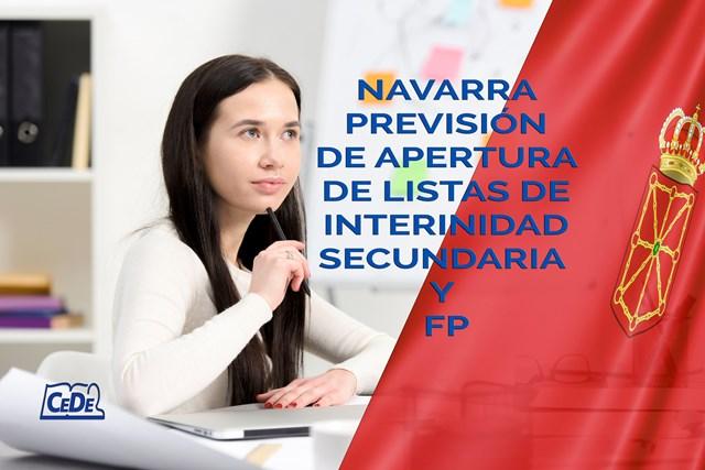 Navarra previsión de aperturas de listas de interinos